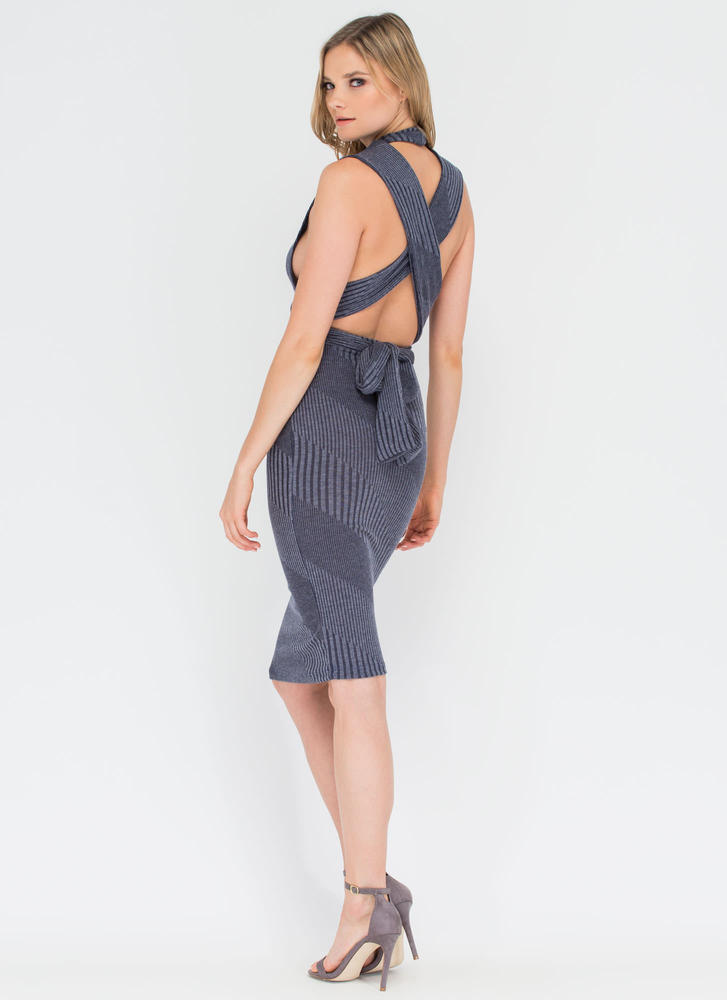 Between The Lines Tied-Up Midi Dress NAVY (Final Sale)
