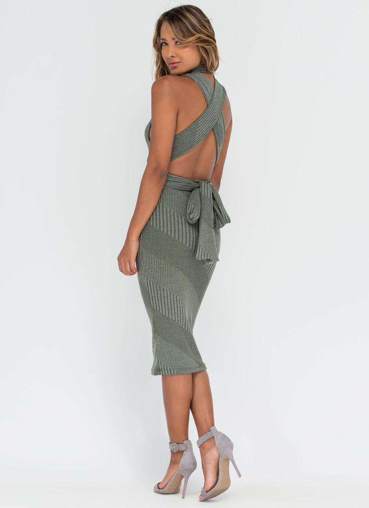 Between The Lines Tied-Up Midi Dress OLIVE