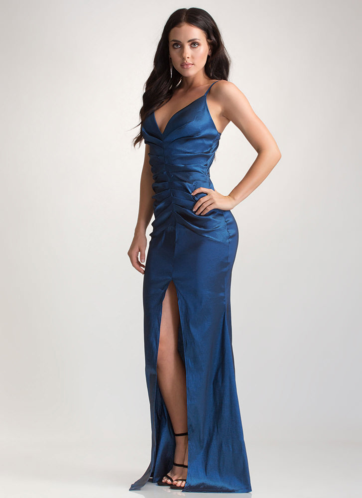 Old Hollywood Glam Taffeta Maxi Dress TEAL