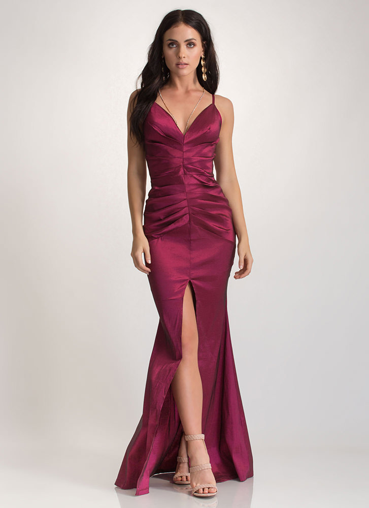 Old Hollywood Glam Taffeta Maxi Dress WINE