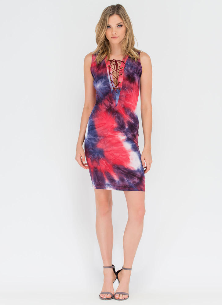 Dream In Color Laced Tie-Dye Dress RED