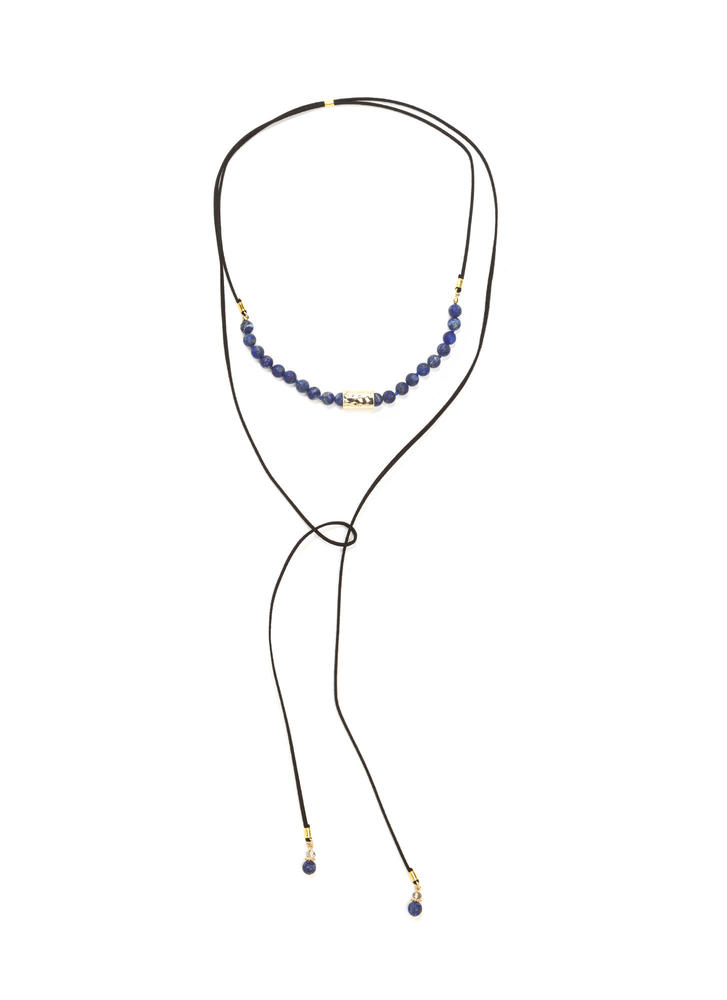 Bad To The Stone Beaded Bolo Necklace BLACKBLUE