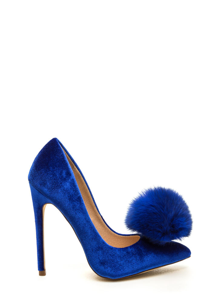 You're Da Pom-Pom Pointy Velvet Pumps