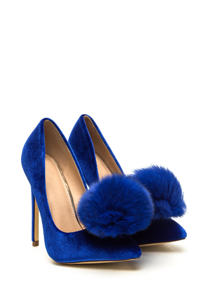 You're Da Pom-Pom Pointy Velvet Pumps BLUE