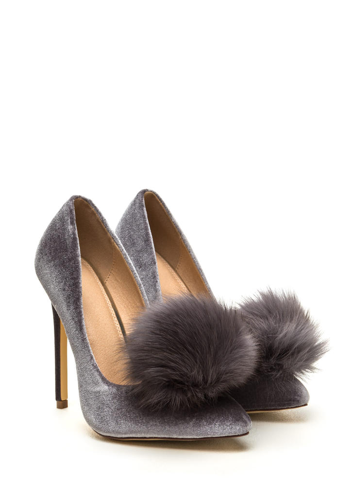 You're Da Pom-Pom Pointy Velvet Pumps GREY (Final Sale)