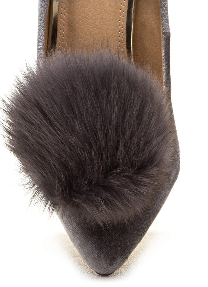 You're Da Pom-Pom Pointy Velvet Pumps GREY