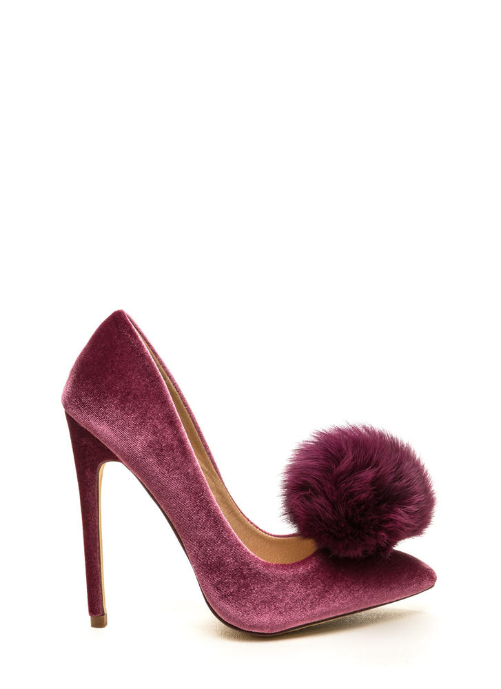 You're Da Pom-Pom Pointy Velvet Pumps MAUVE