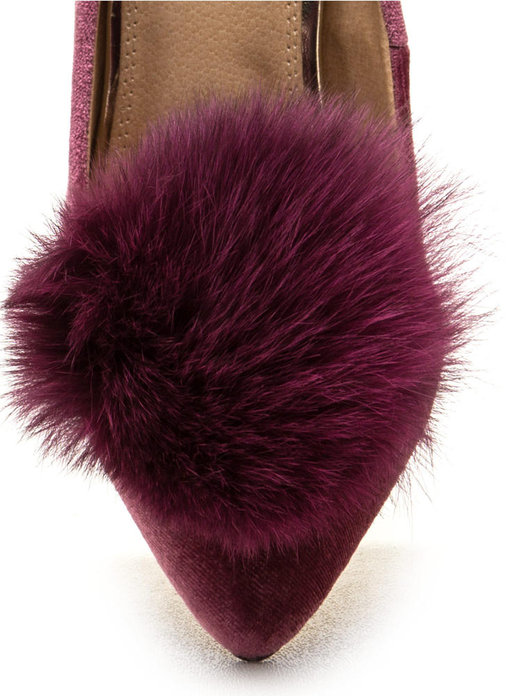 You're Da Pom-Pom Pointy Velvet Pumps MAUVE (Final Sale)