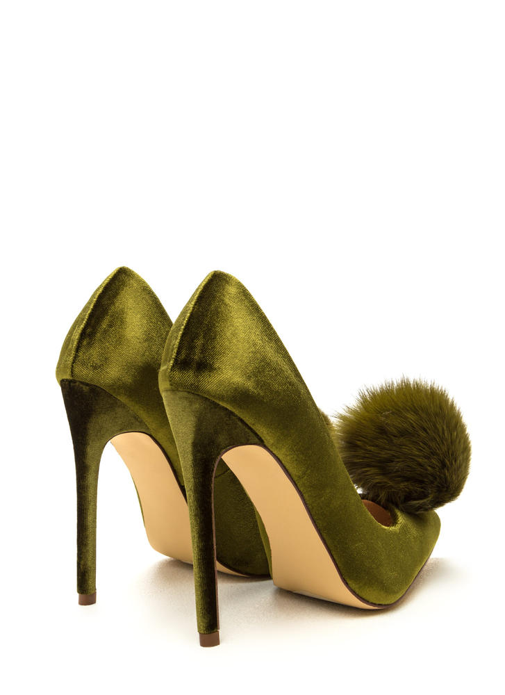 You're Da Pom-Pom Pointy Velvet Pumps OLIVE