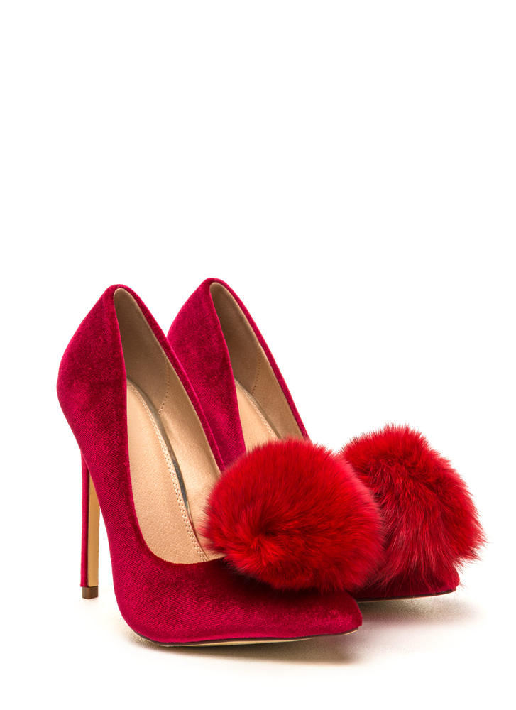 You're Da Pom-Pom Pointy Velvet Pumps RED
