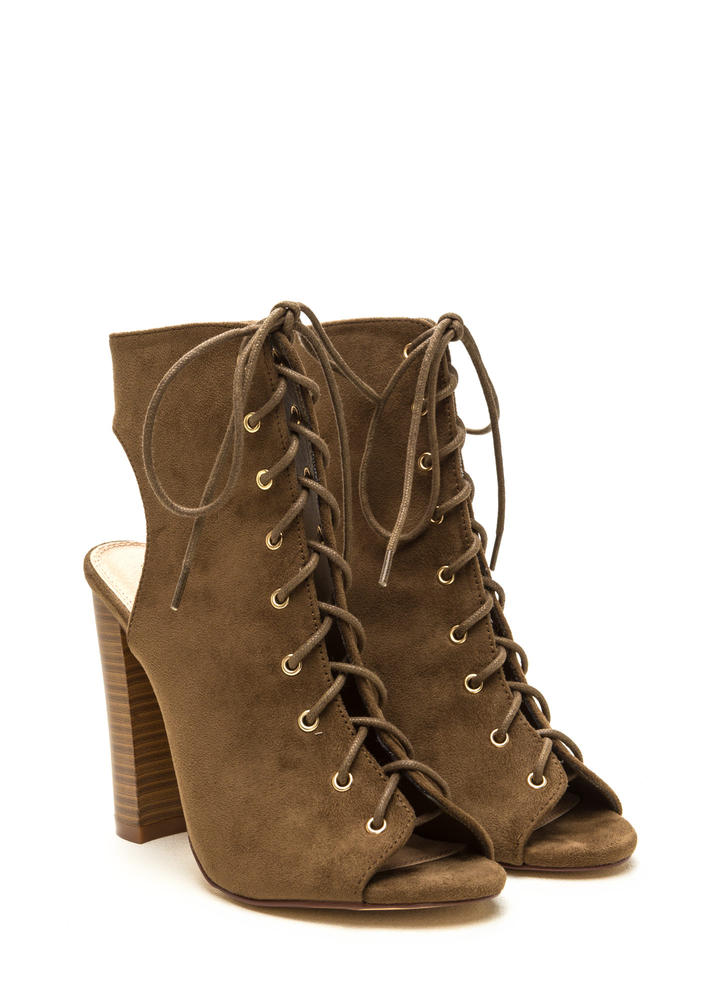 Chic Outlook Lace-Up Chunky Heels OLIVE
