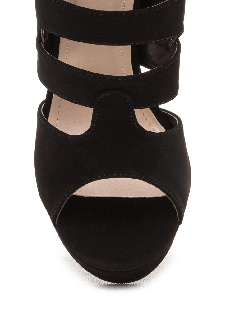 Strappy Days Chunky Caged Platform Heels BLACK
