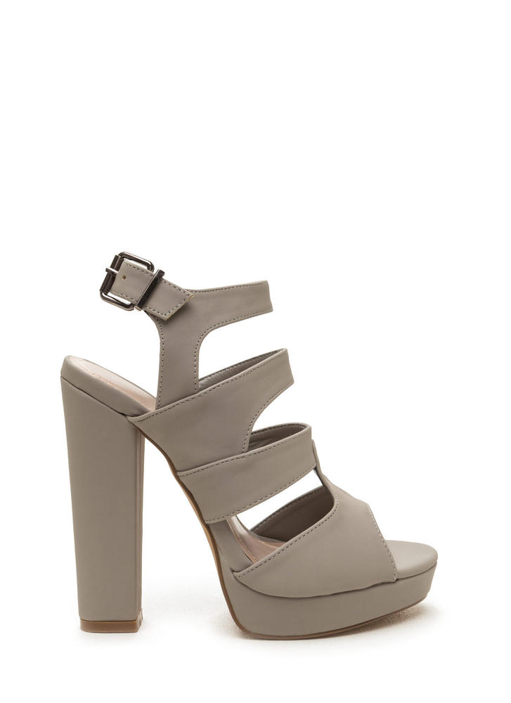 Strappy Days Chunky Caged Platform Heels GREY