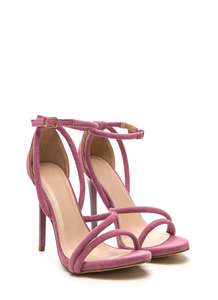 Haute Night Strappy Faux Suede Heels MAUVE