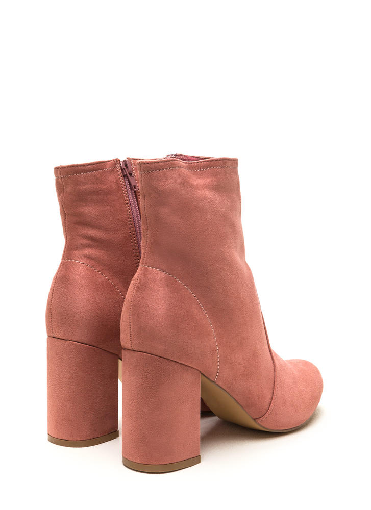 Stacked In Your Favor Chunky Booties BLUSH