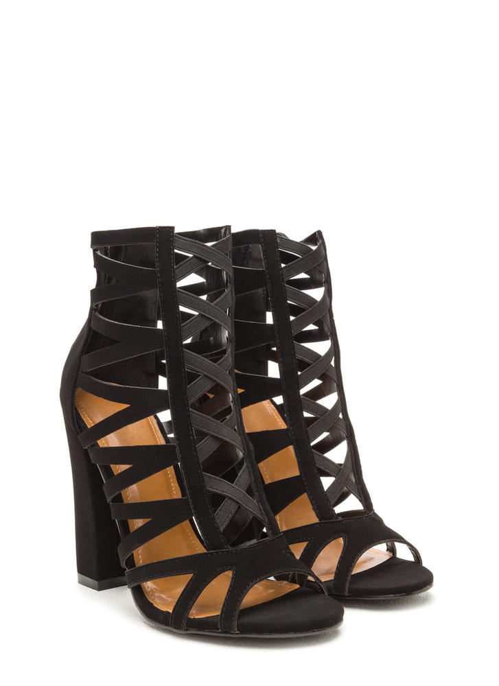 Caged Fighter Faux Nubuck Heels BLACK