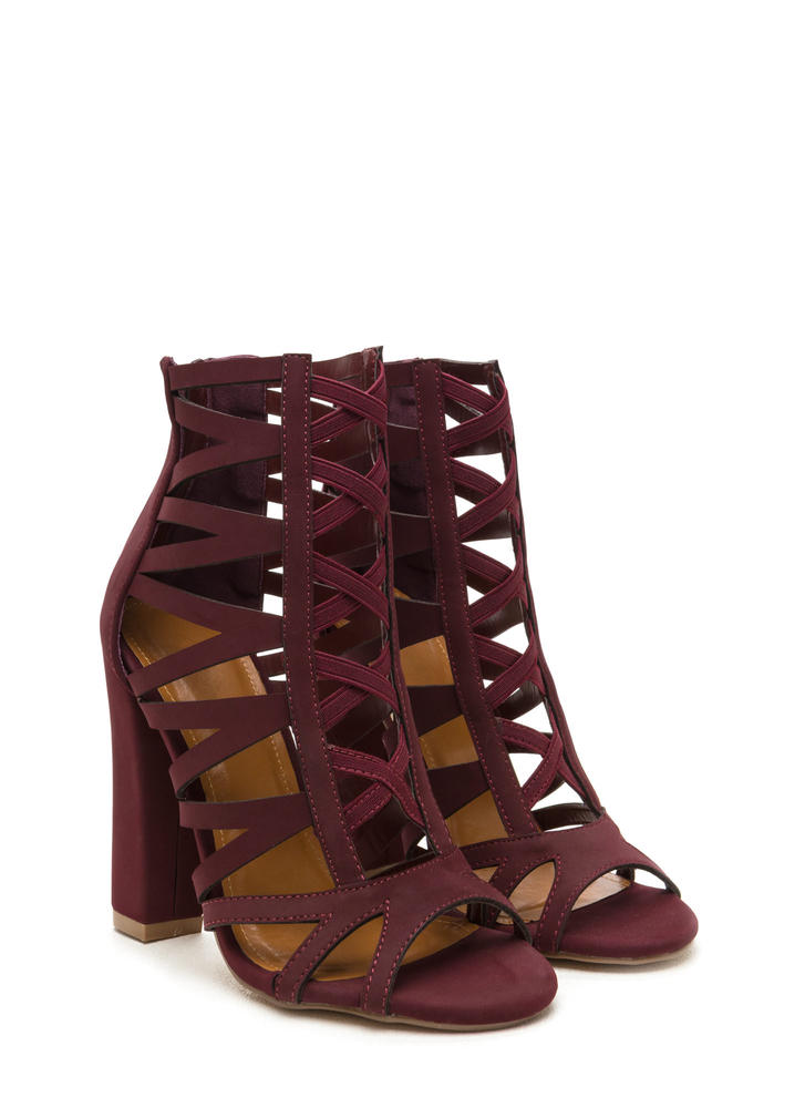 Caged Fighter Faux Nubuck Heels BURGUNDY