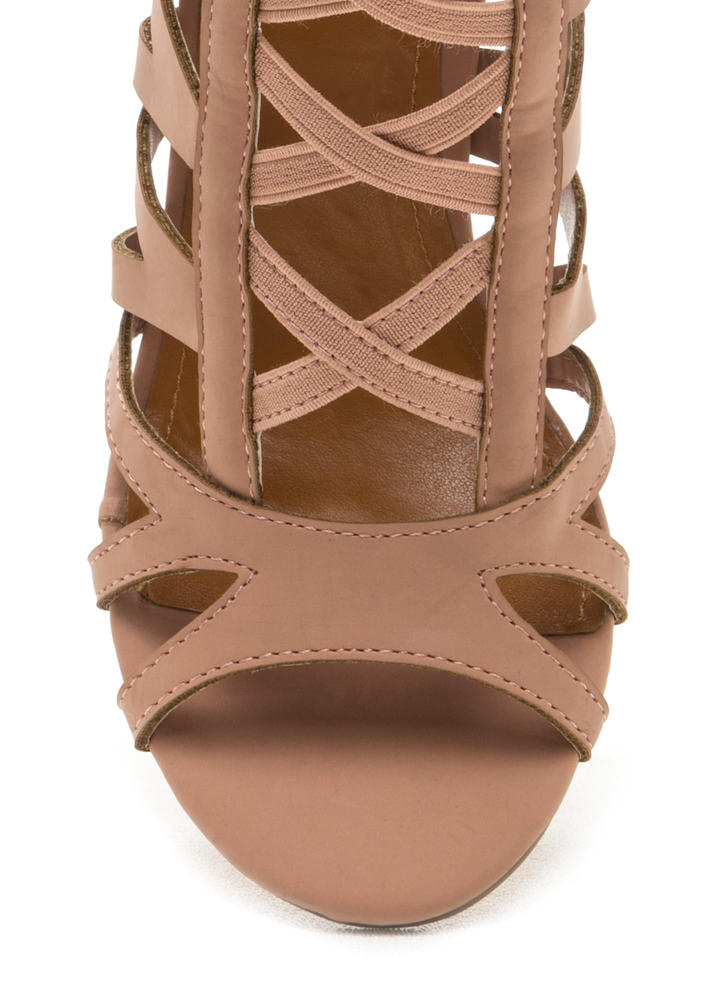 Caged Fighter Faux Nubuck Heels TAUPE