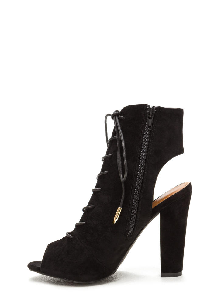 Tie Game Lace-Up Faux Suede Booties BLACK (Final Sale)
