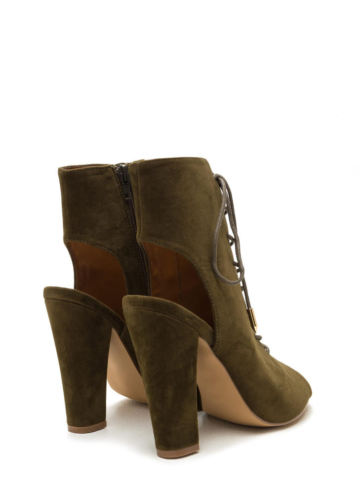 Tie Game Lace-Up Faux Suede Booties OLIVE
