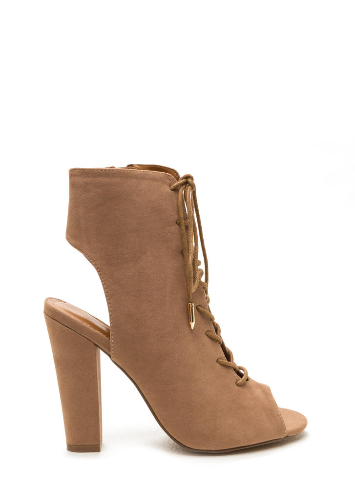 Tie Game Lace-Up Faux Suede Booties