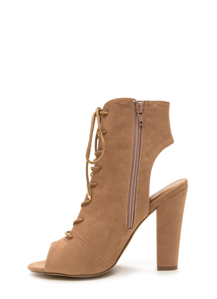 Tie Game Lace-Up Faux Suede Booties TAUPE