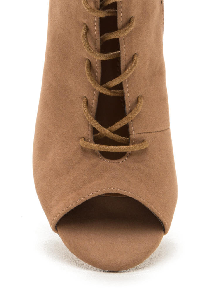 Tie Game Lace-Up Faux Suede Booties TAUPE (Final Sale)