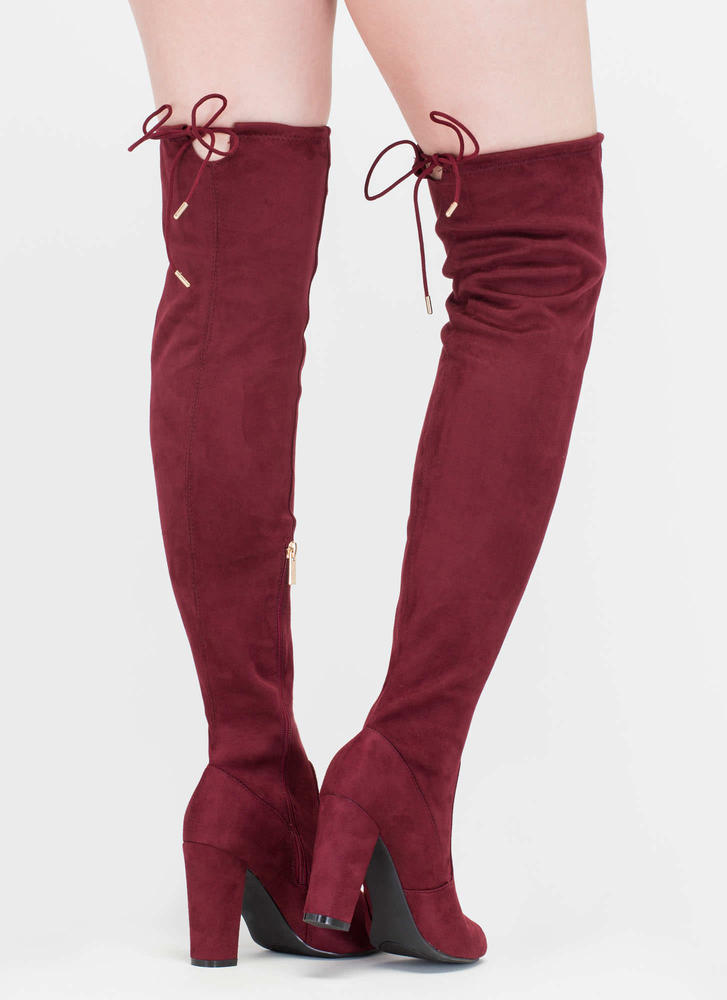 Drawstring Along Chunky Thigh-High Boots LTTAUPE BURGUNDY - GoJane.com