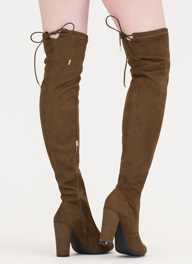 Drawstring Along Chunky Thigh-High Boots OLIVE
