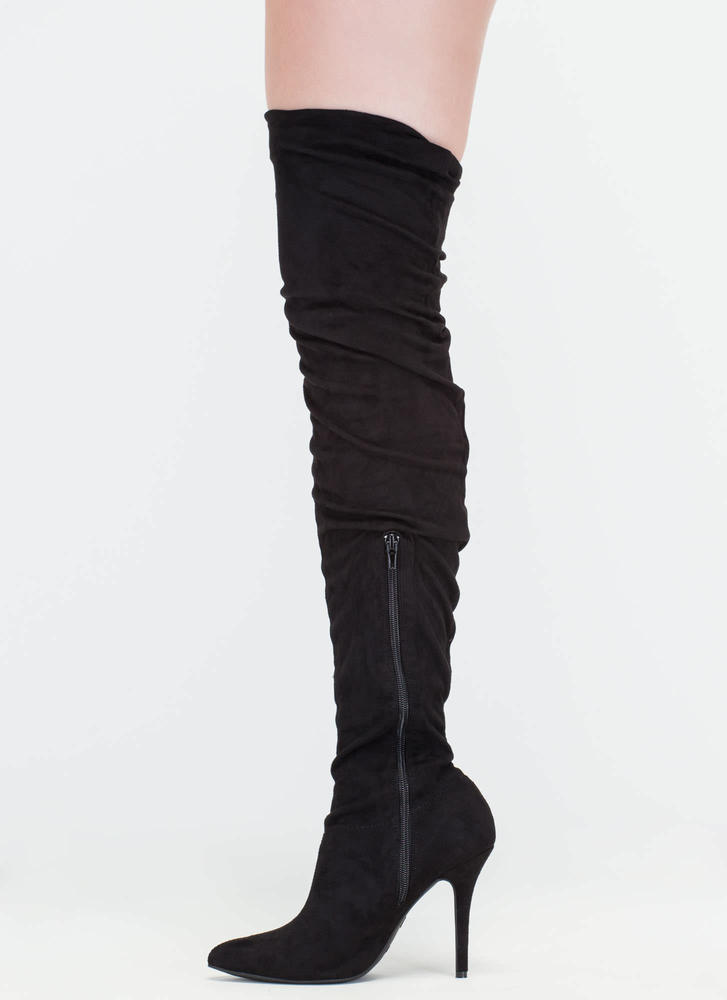 Stylish Slouch Pointy Thigh-High Boots  BLACK