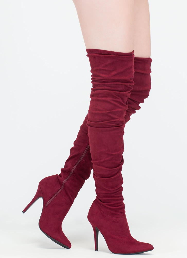 Stylish Slouch Pointy Thigh-High Boots  BURGUNDY