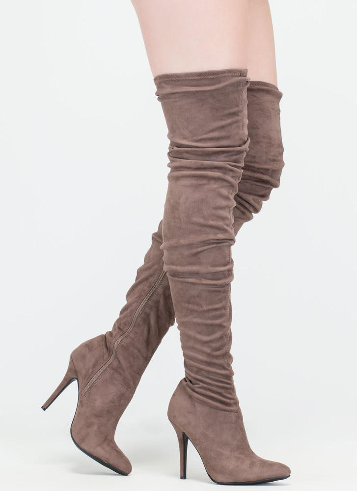 Stylish Slouch' Pointy Thigh-High Slouch Boots, Stiletto Heel ...