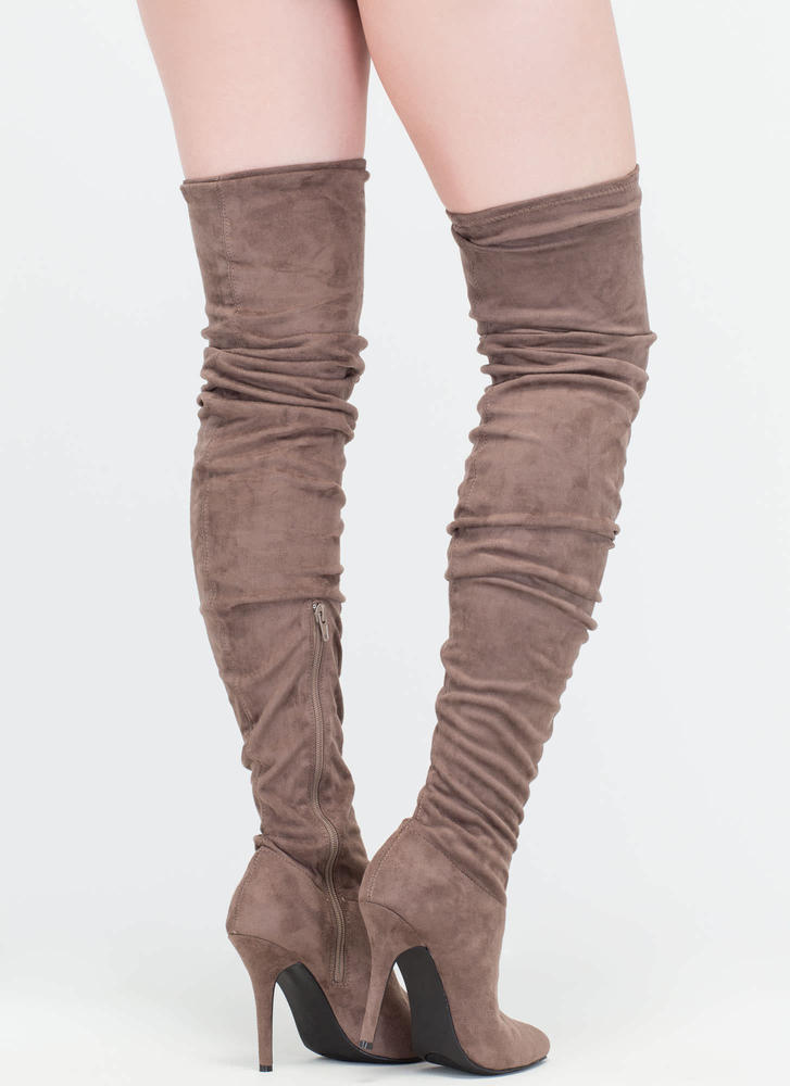 Stylish Slouch Pointy Thigh-High Boots  TAUPE