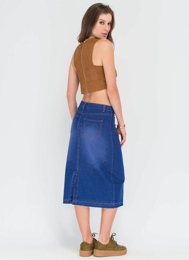 Long Way Buttoned Denim Midi Skirt BLUE (Final Sale)