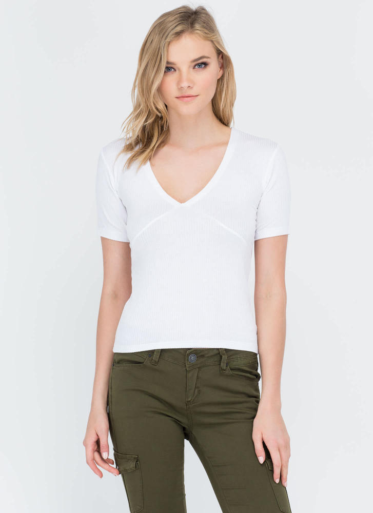 All Lined Up Ribbed V-Neck Top