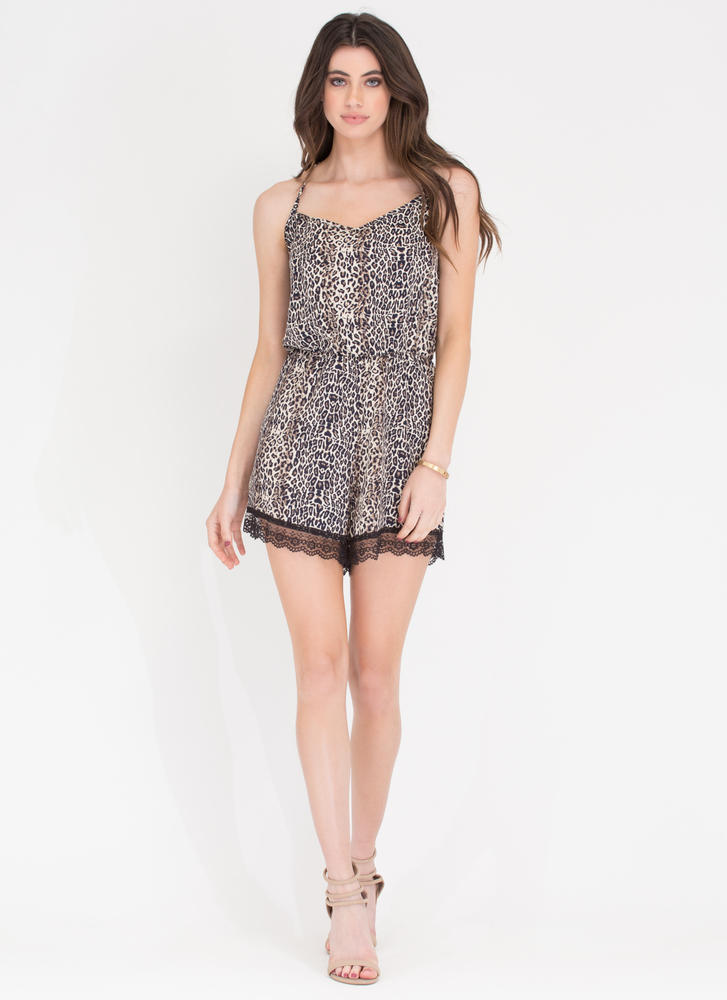 Animal Style Printed Romper LEOPARD (Final Sale)