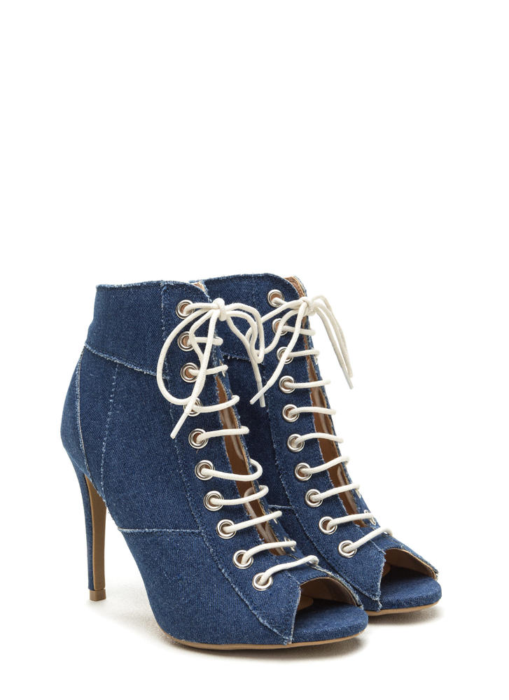 Day To Denim Lace-Up Booties BLUE