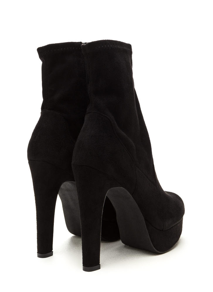 Sleek Outlook Chunky Platform Booties BLACK