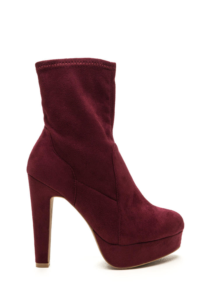 Sleek Outlook Chunky Platform Booties BURGUNDY