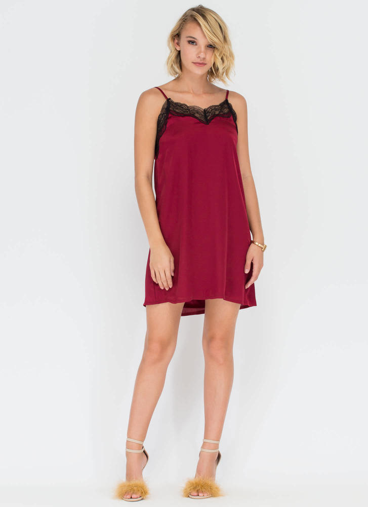 Nightie Night Floral Lace Slip Dress WINE