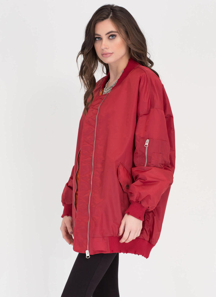 Go Long Padded Zip-Up Bomber Jacket RED (Final Sale)