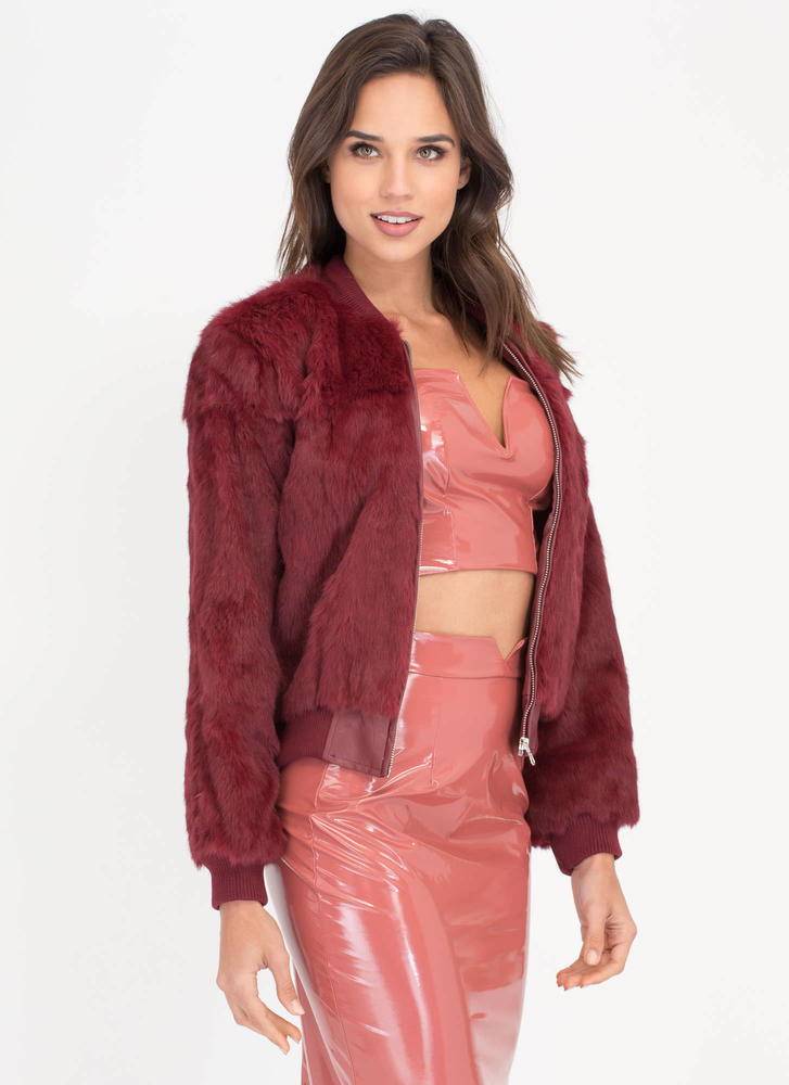 All Fur One Zip-Up Bomber Jacket BURGUNDY