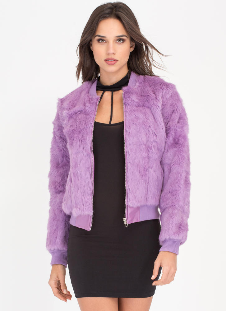 All Fur One Zip-Up Bomber Jacket LAVENDER