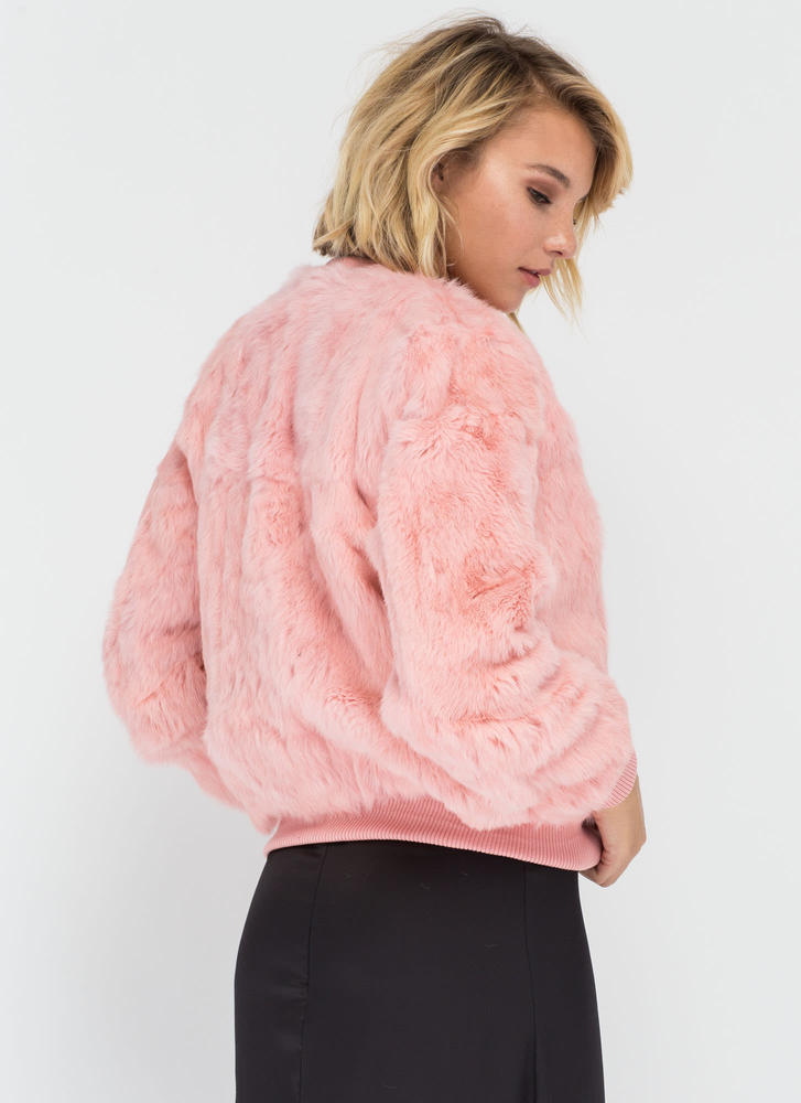 All Fur One Zip-Up Bomber Jacket PINK