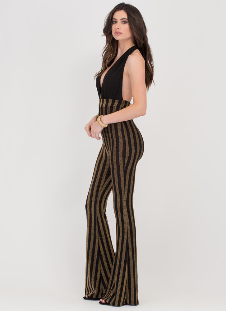 Boogie Night Flared Halter Jumpsuit BLACK
