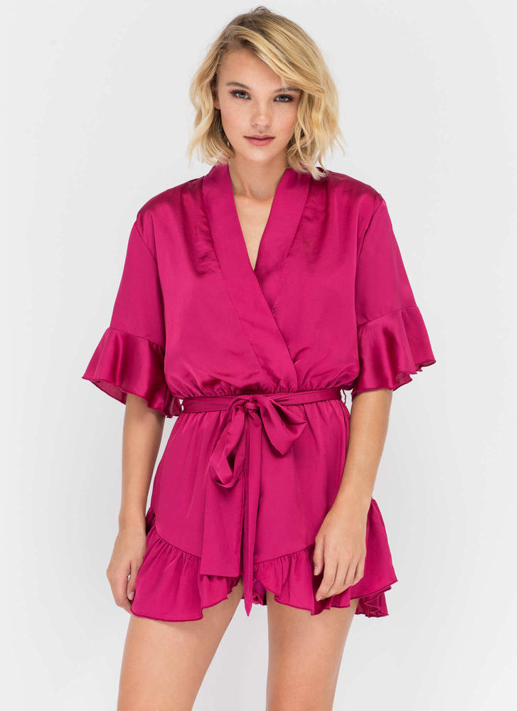 Get The Look Ruffled Satin Romper