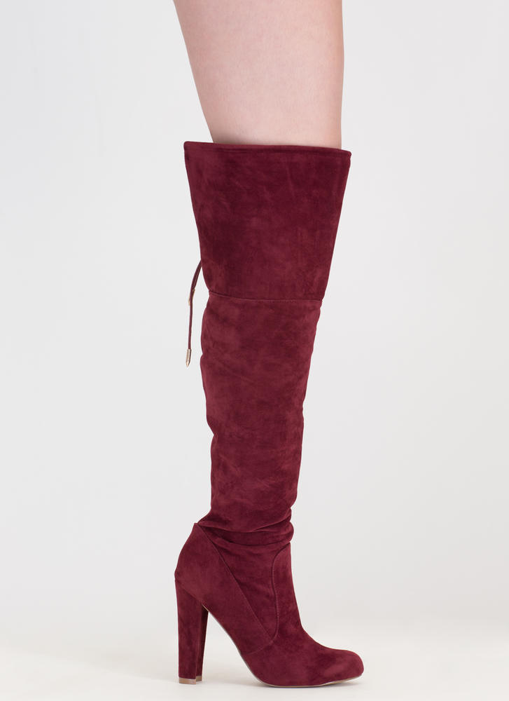 Tied Down Chunky Over-The-Knee Boots BURGUNDY