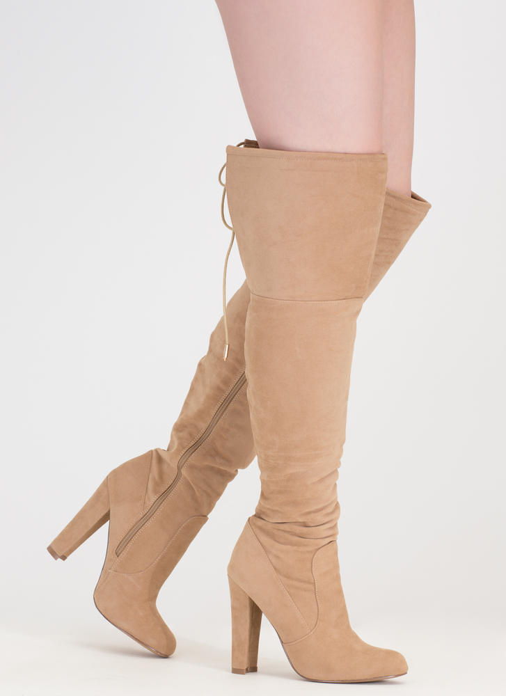 Tied Down Chunky Over-The-Knee Boots