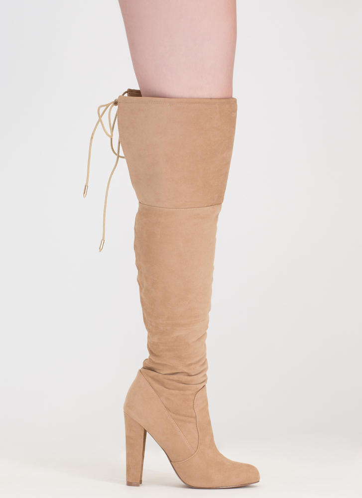 Tied Down Chunky Over-The-Knee Boots CAMEL