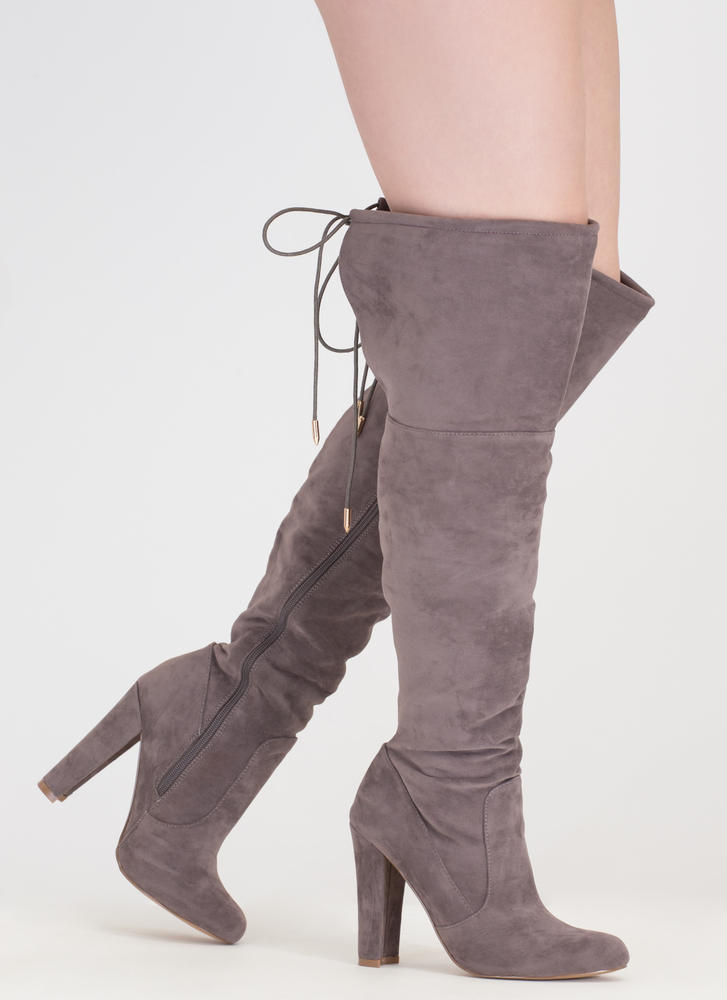 Tied Down Chunky Over-The-Knee Boots GREY
